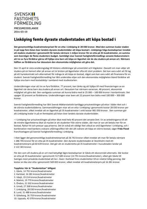 Linköping femte dyraste studentstaden att köpa bostad i