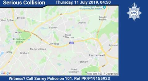 Witness appeal following serious collision on clockwise M25