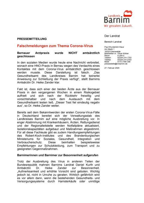 Falschmeldungen zum Thema Corona-Virus