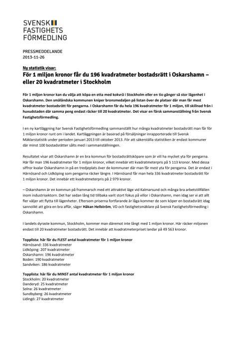 Ny statistik visar: För 1 miljon kronor får du 196 kvadratmeter bostadsrätt i Oskarshamn – eller 20 kvadratmeter i Stockholm