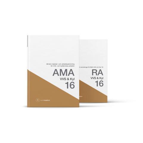 Referensverket AMA VVS  & Kyl 16, med tillhörande råd och anvisningar RA VVS & Kyl 16, grundligt aktualiserade för att hålla AMA i takt med tiden.