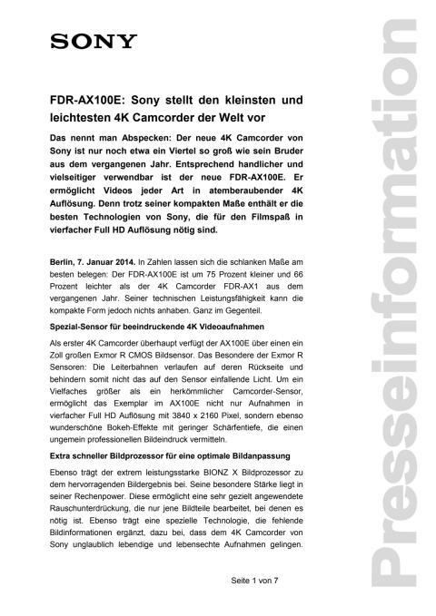FDR-AX100E: Sony stellt den kleinsten und leichtesten 4K Camcorder der Welt vor