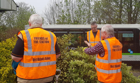 Friends of Stourbridge Stations working on planters at Stourbridge Junction