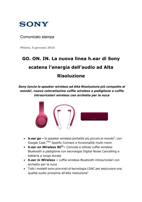 GO. ON. IN. La nuova linea h.ear di Sony scatena l'energia dell'audio ad Alta Risoluzione
