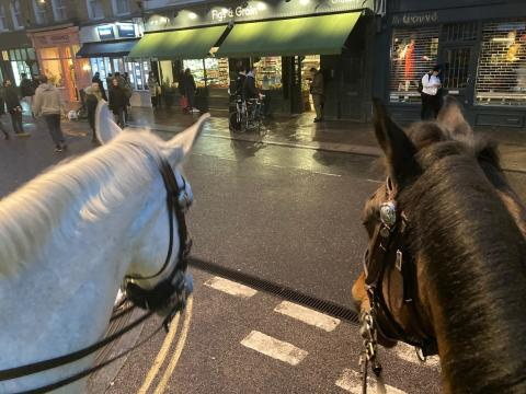 Mounted officers observing social distancing at Broadway Market