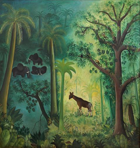 Hans Scherfig, Junglebillede (Okapi), 1953. Privateje. Foto: Anders Sune Berg/LAMBERTHs Forlag
