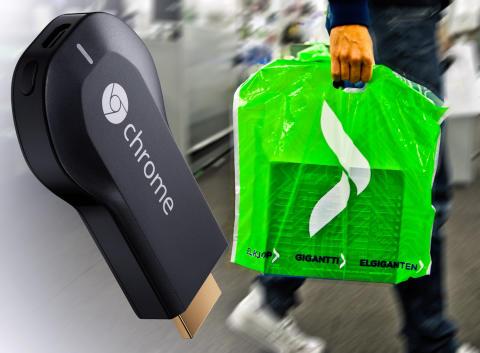 Kjempesuksessen Chromecast endelig på plass i butikken