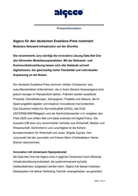 Algeco für den deutschen Exzellenz-Preis nominiert