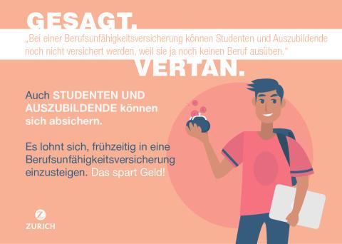"""Irrtum Nr. 5 """"Bei einer Berufsunfähigkeitsversicherung können Studenten und Auszubildende noch nicht versichert werden."""""""