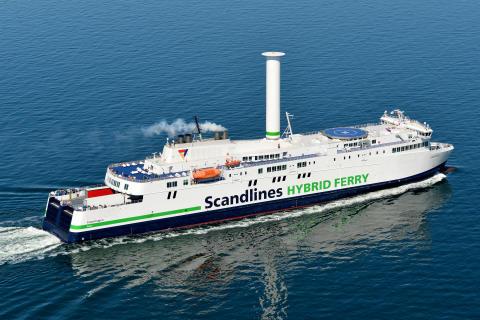 Færgeoperatør og passagerer sejler med vinden
