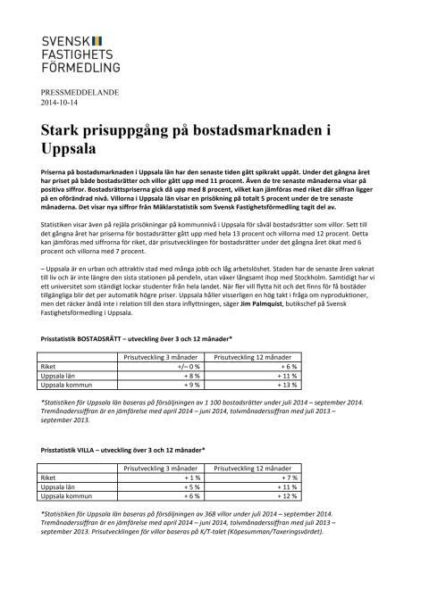 Stark prisuppgång på bostadsmarknaden i Uppsala