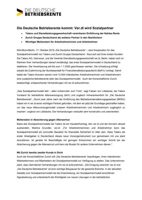 Die Deutsche Betriebsrente kommt: Ver.di wird Sozialpartner