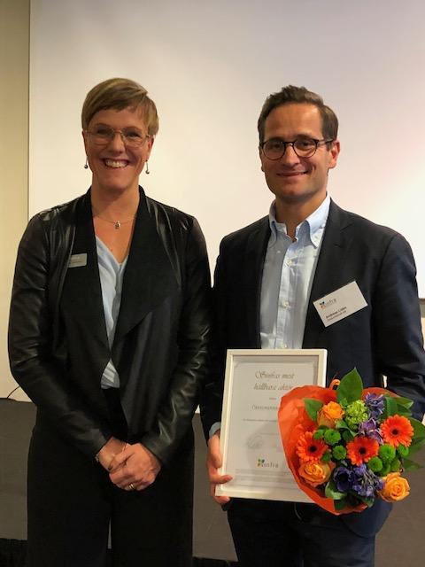 """Utmärkelsen """"Sinfras mest hållbara aktör"""" till Öresundskraft AB"""