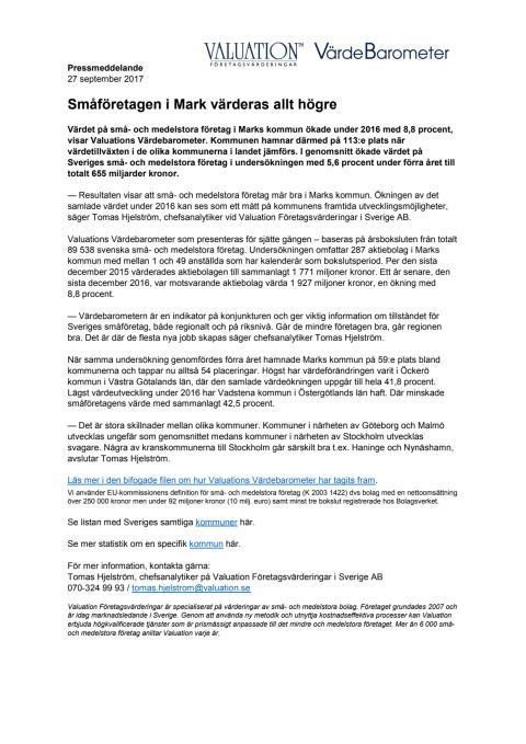 Värdebarometern 2017 Marks kommun