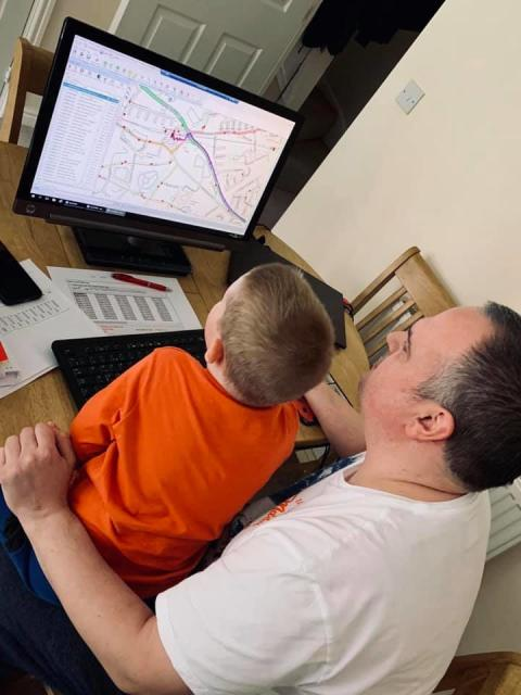 Key worker - updating bus schedules from home with some added help