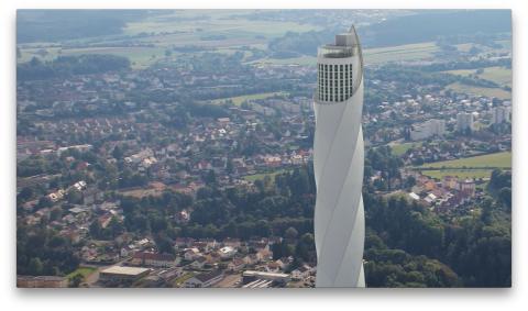 Großes Medieninteresse am ThyssenKrupp-Testturm in Rottweil