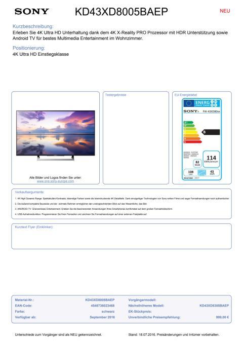 Datenblatt BRAVIA KD-43XD8005BAEP von Sony