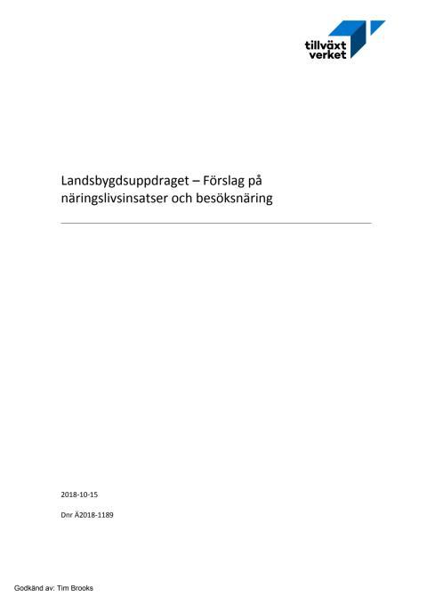 Landsbygdsuppdraget - Förslag på näringslivsinsatser och besöksnäring