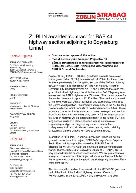 ZÜBLIN awarded contract for BAB 44 highway section adjoining to Boyneburg tunnel