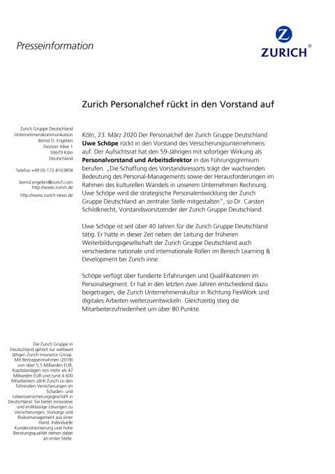 Zurich Personalchef rückt in den Vorstand auf