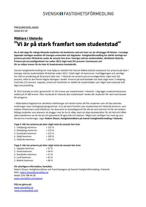 """Mäklare i Västerås: """"Vi är på stark framfart som studentstad"""""""