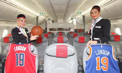 Norwegian crew members with NBA basketball