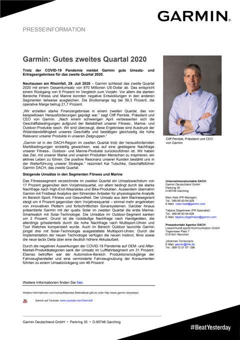 PM Garmin Quartalszahlen Q2