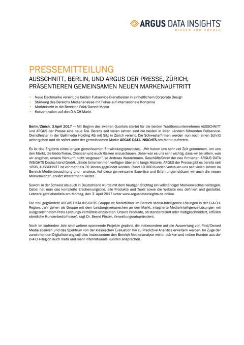AUSSCHNITT, BERLIN, UND ARGUS DER PRESSE, ZÜRICH,  PRÄSENTIEREN GEMEINSAMEN NEUEN MARKENAUFTRITT