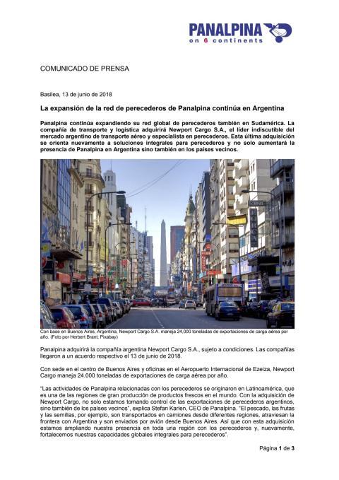 La expansión de la red de perecederos de Panalpina continúa en Argentina