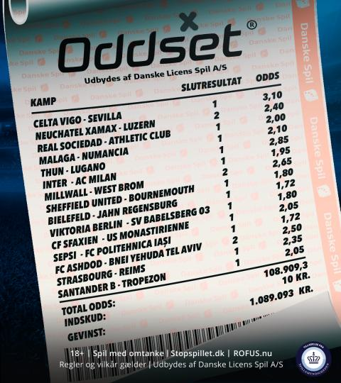 Rekordkupon på Oddset: Spillede for en 10'er – vandt over en million kroner