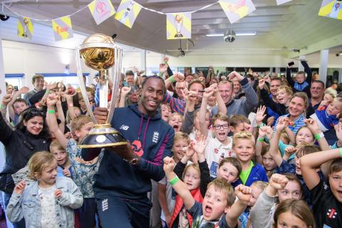 Super over star Jofra Archer kicks off nationwide Winners' World Cup Trophy Tour