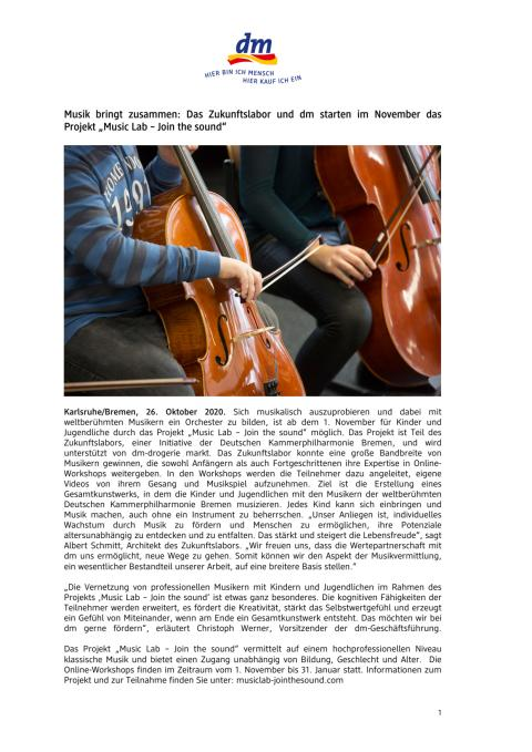 """20-10-22_Musik bringt zusammen- Das Zukunftslabor und dm starten im November das Projekt """"Music Lab – Join the sound_.pdf"""