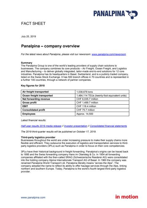 Fact Sheet – Panalpina company overview