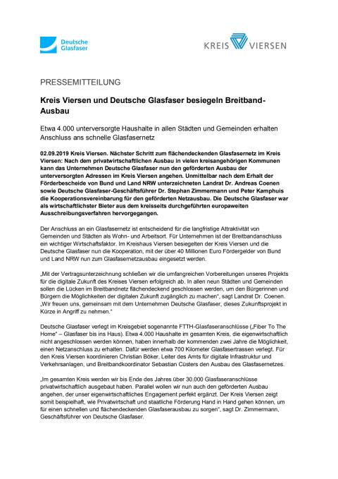 Kreis Viersen und Deutsche Glasfaser besiegeln Breitband-Ausbau