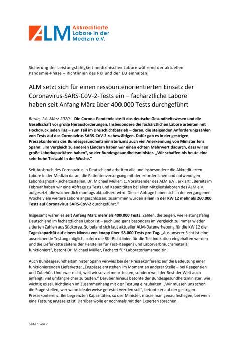 Pressemitteilung ALM e.V.: Coronavirus-SARS-CoV-2-Tests ressourcenorientiert einsetzen
