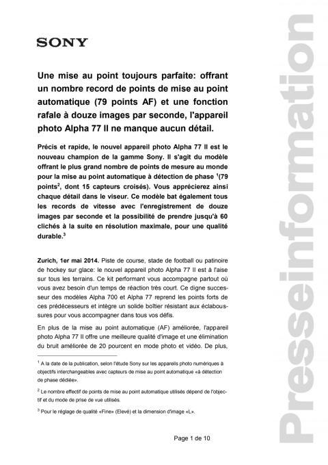 Communication de presse_Alpha77II_F-CH_140501