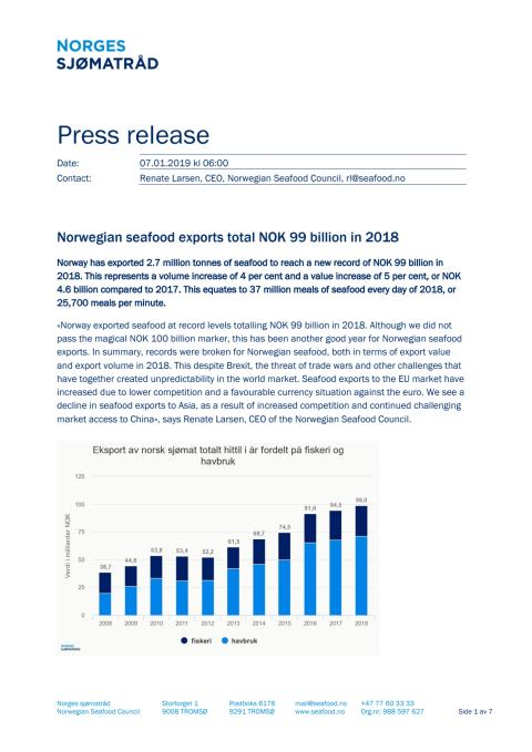 Norwegian seafood exports total NOK 99 billion in 2018