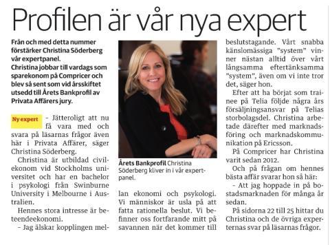 Christina Sahlberg ny expert hos Privata affärer
