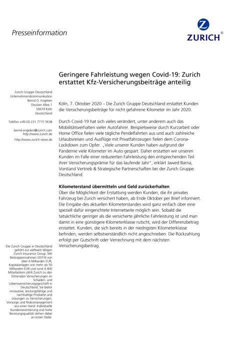 Geringere Fahrleistung wegen Covid-19: Zurich erstattet Kfz-Versicherungsbeiträge anteilig