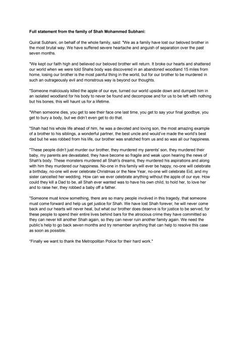 Family statement - 19 December