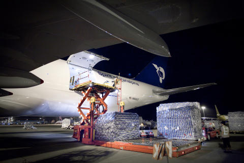 Panalpina's Boeing 747-8F being loaded