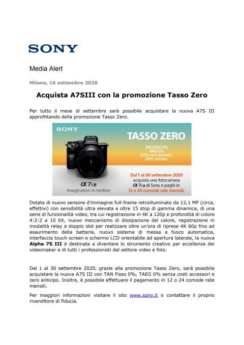 Acquista A7SIII con la promozione Tasso Zero