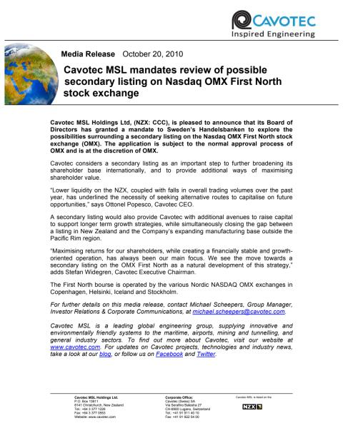 Cavotec MSL mandates review of possible secondary listing on Nasdaq OMX First North stock exchange