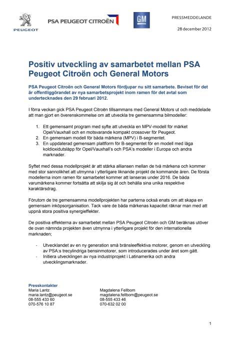 Positiv utveckling av samarbetet mellan PSA Peugeot Citroën och General Motors