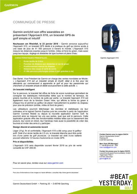 Garmin enrichit son offre wearables en présentant l'Approach X10, un bracelet GPS de golf simple et intuitif