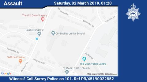 Witness appeal following an assault in Camberley
