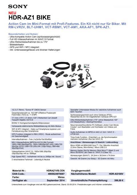Datenblatt HDR-AZ1VB von Sony