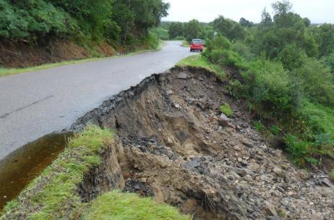 Landslip closes Knockando-Dallas road