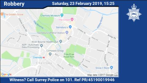 Two arrests made after 79-year-old woman robbed in Chertsey
