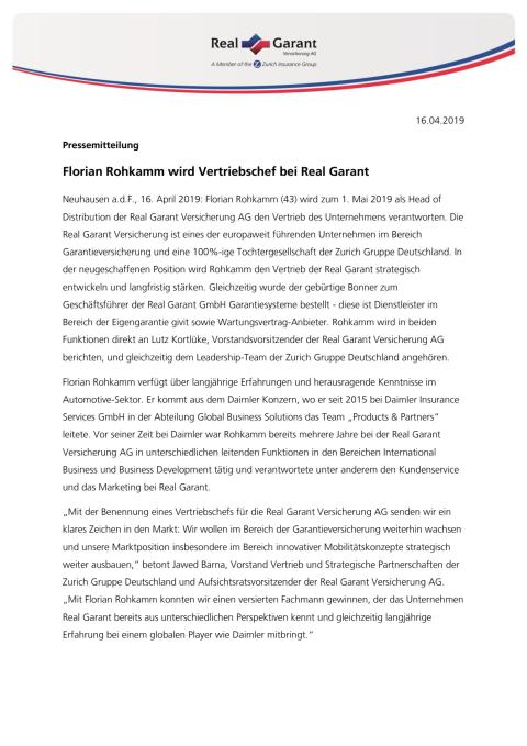 Florian Rohkamm wird Vertriebschef bei Real Garant